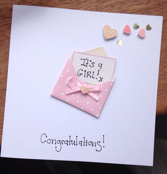 Superior Baby Card Making Ideas Part - 4: Items Similar To New Born Baby Card GIRL Or BOY Congratulations Itu0027s A  Boy/girl Christening Card On Etsy