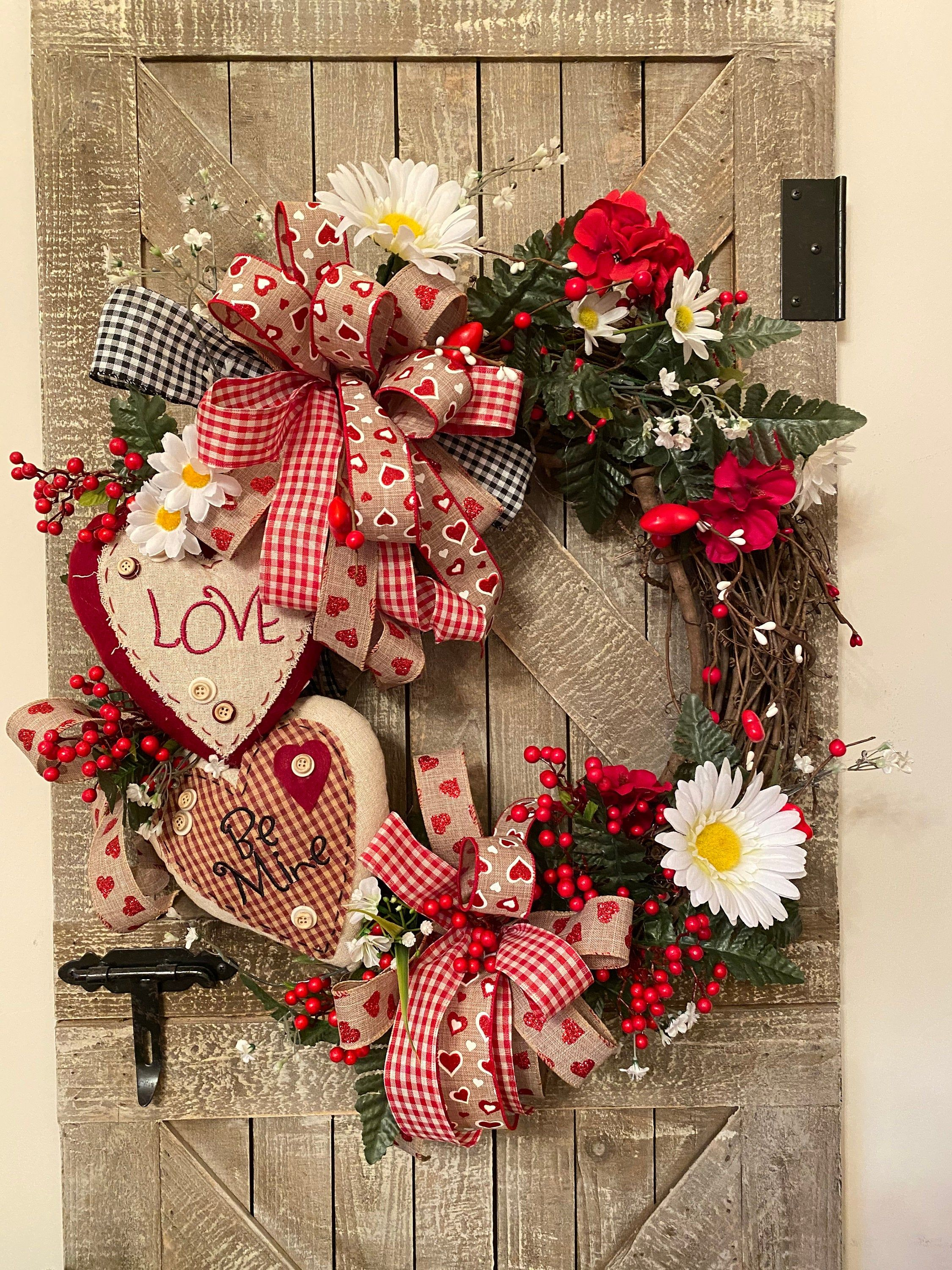 Love Gift Red Heart Wreaths Heart Shaped Wreaths Heart Decorations Red Heart Gifts Heart Door Decor Gift for Her Fun Wreaths Hearts