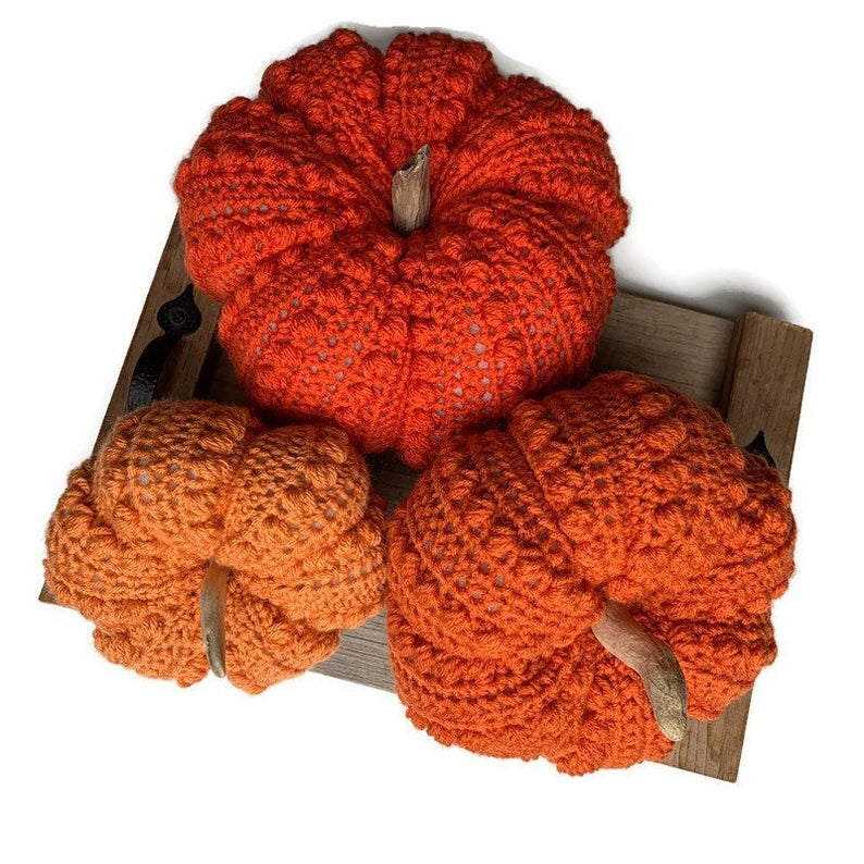 Crochet Pumpkin 3 Jumbo Size Driftwood Stems Fall Decor Etsy