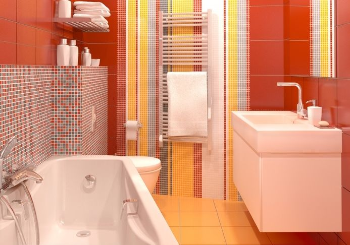carrelage-salle-de-bains-rougejpg (693×486) rouge Pinterest