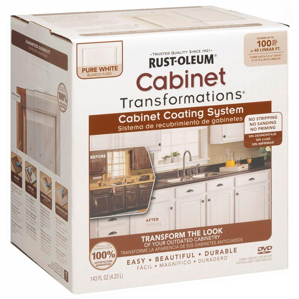 Rust Oleum Transformations 1 Qt Pure White Cabinet Small Kit 298060 The Home Depot Kitchen Cabinets Upgrade Cabinet Transformations Painting Kitchen Cabinets