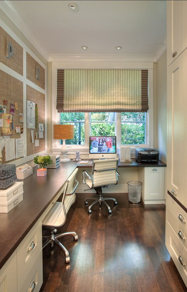 What A Gorgeous 2 Person Office Area We Ll Designed And Not Cluttered For A Rather Small Area Feminine Home Offices Home Office Space Traditional Home Office