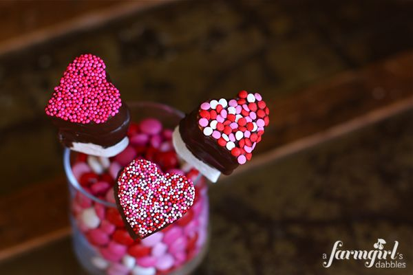 Chocolate Dipped Valentine Marshmallow Pops. From a farmgirl's dabbles