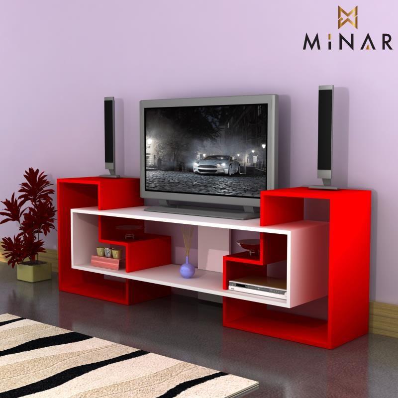 Yildiz Tv Unitesi Kirmizi P Beyaz 191 10 Tl Kdv Muebles Para Lcd Muebles Para Televisores Muebles Para Tv Modernos