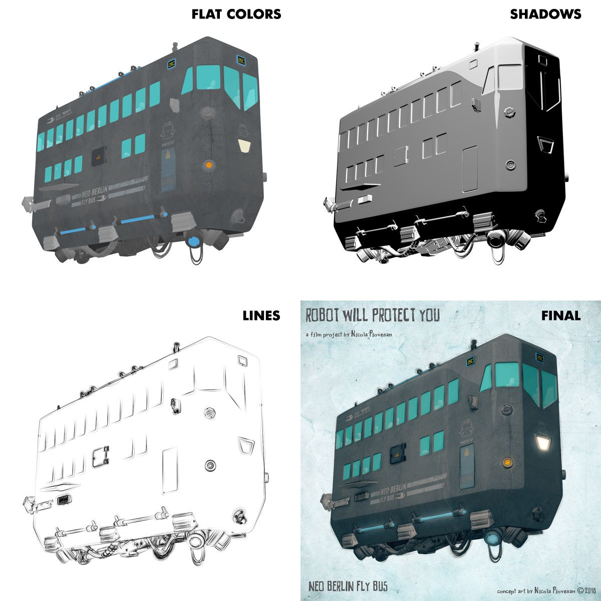 How I Made My Futuristic Fly Bus Cgi Render Passes Robot
