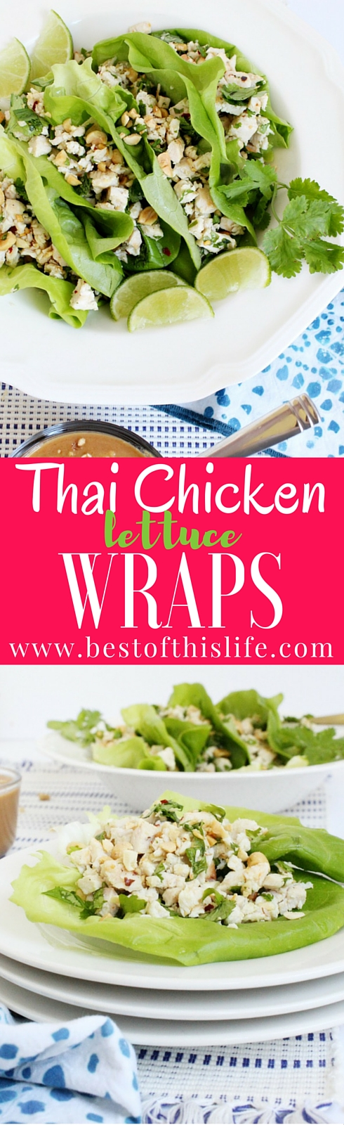 Thai Chicken Lettuce Wraps with Peanut Sauce