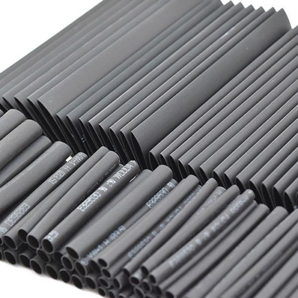 Black Heat Shrink Tube Wrapping Sleeve Cable Wiring Assortment Set 127pc