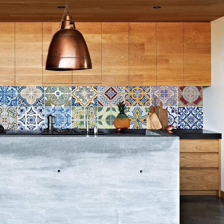Kitchen Wall Wallpaper Portugal In 2021 Backsplash Wallpaper Colourful Kitchen Tiles Colorful Kitchen Backsplash