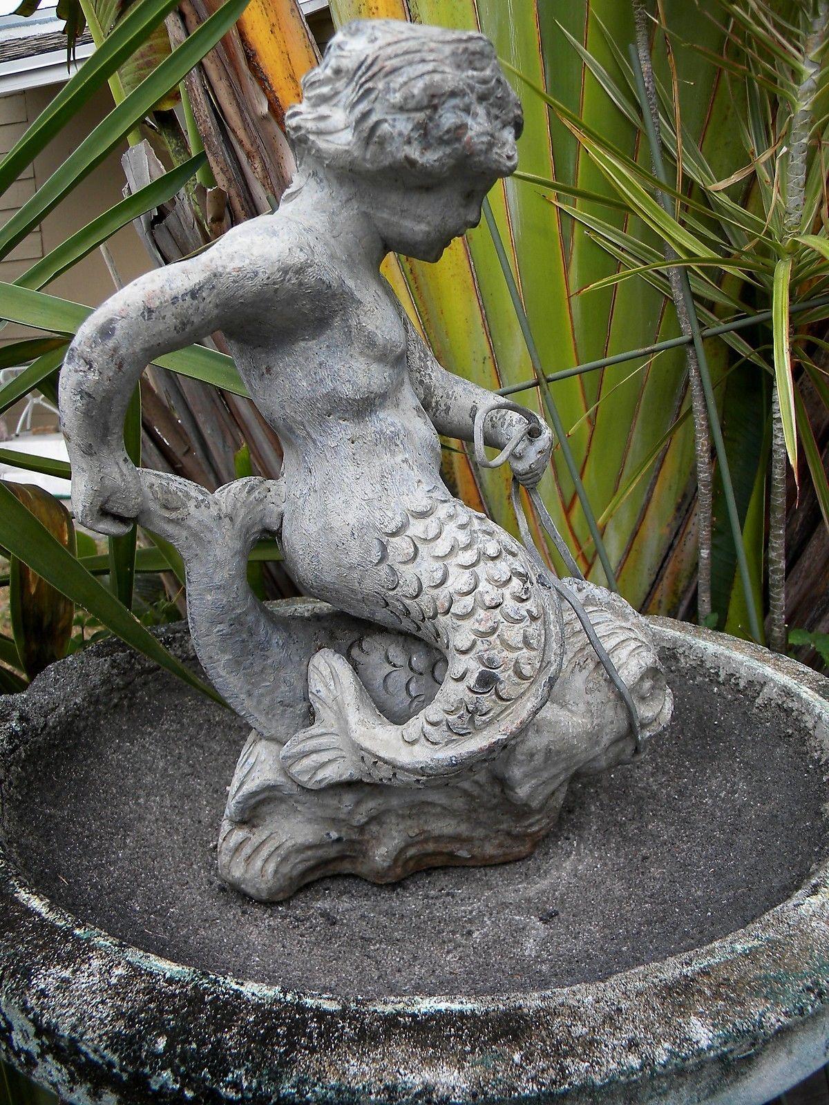 Antique Lead Fountain Architectural Garden Mermaid Boy Child Putti On  Dolphin