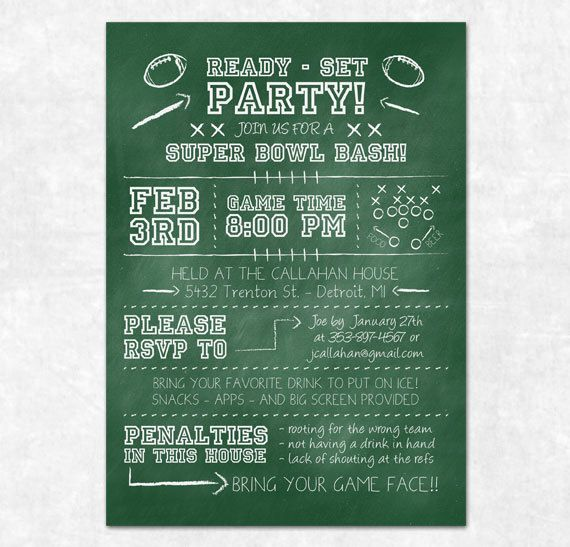 Football Party Invitation Printable Chalkboard Birthday Party
