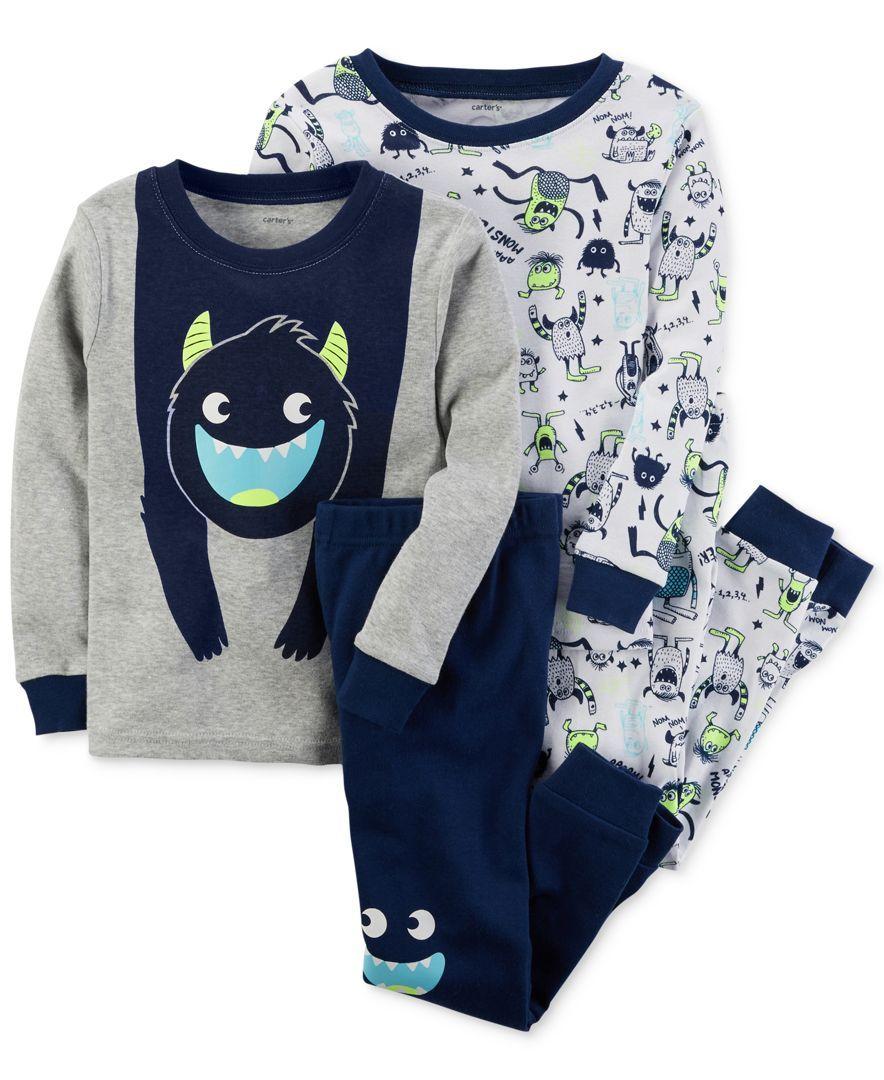 7c009ea6f Carter s 4-Pc. Monster Glow-In-The-Dark Cotton Pajama Set