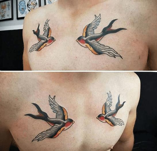 Tatouage hirondelle torse oldschool tatouages pinterest - Tatouage hirondelle signification ...