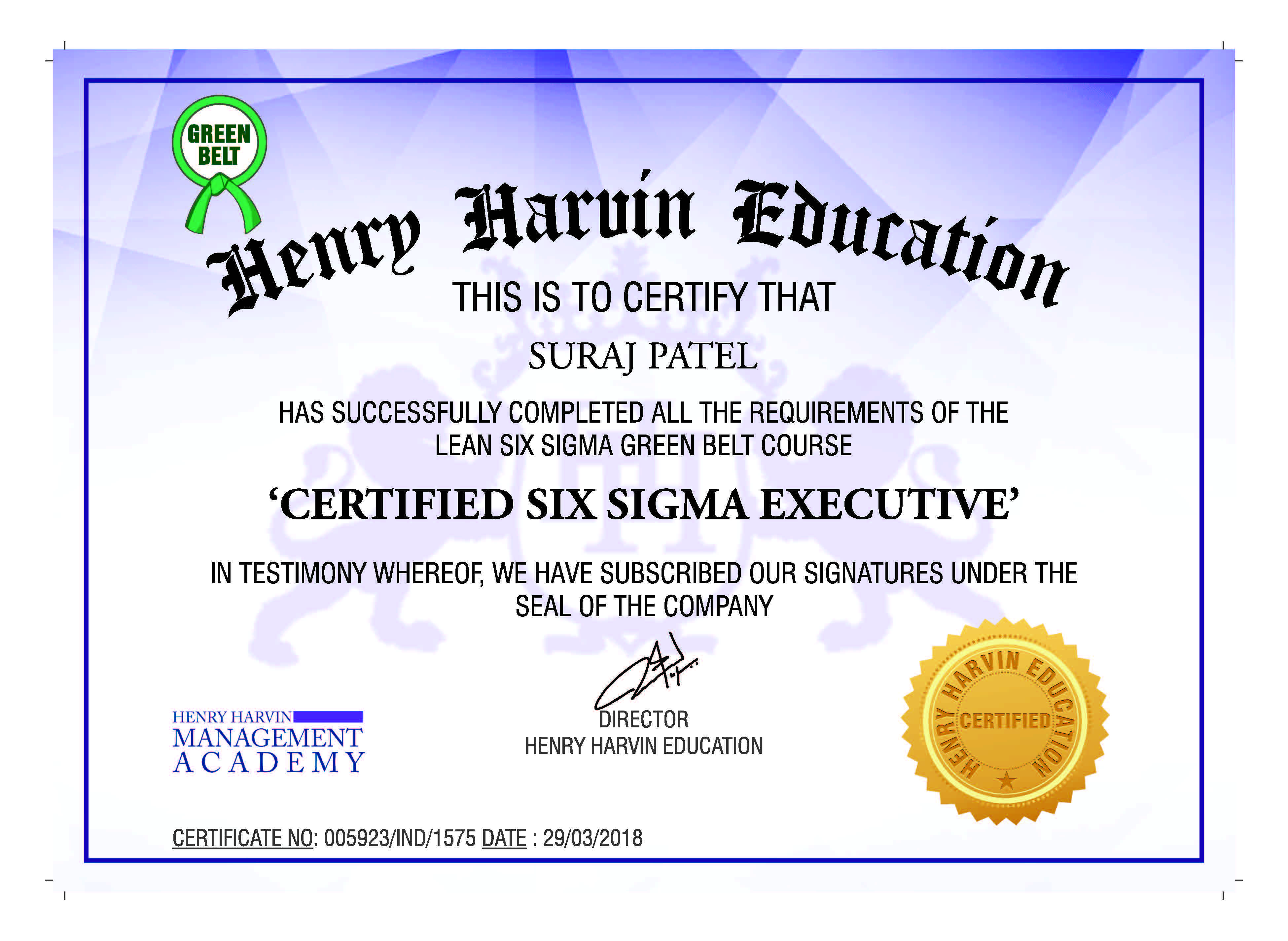 Lean Six Sigma Green Belt Certification By Henry Harvin Education