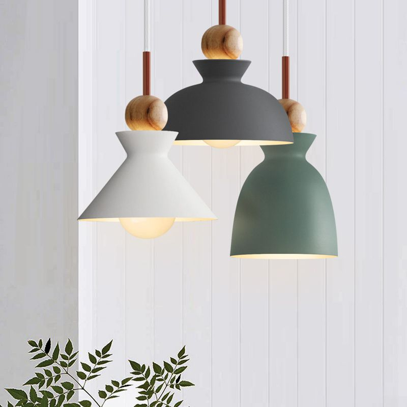 Fashion Colorful Modern Wood Pendant Lights Lamparas Minimalist Design Shade Luminaire Dining Room Lamp
