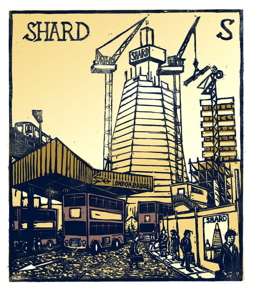 """""""S - The Shard"""" from """"London A-Z"""" Complete Boxed Set linocuts by Tobias Till, 2012. http://www.tobias-till.co.uk/. Tags: Linocut, Cut, Print, Linoleum, Lino, Carving, Block, Woodcut, Helen Elstone, Buildings, Architecture, Tower, Skyscraper, Cranes, People."""
