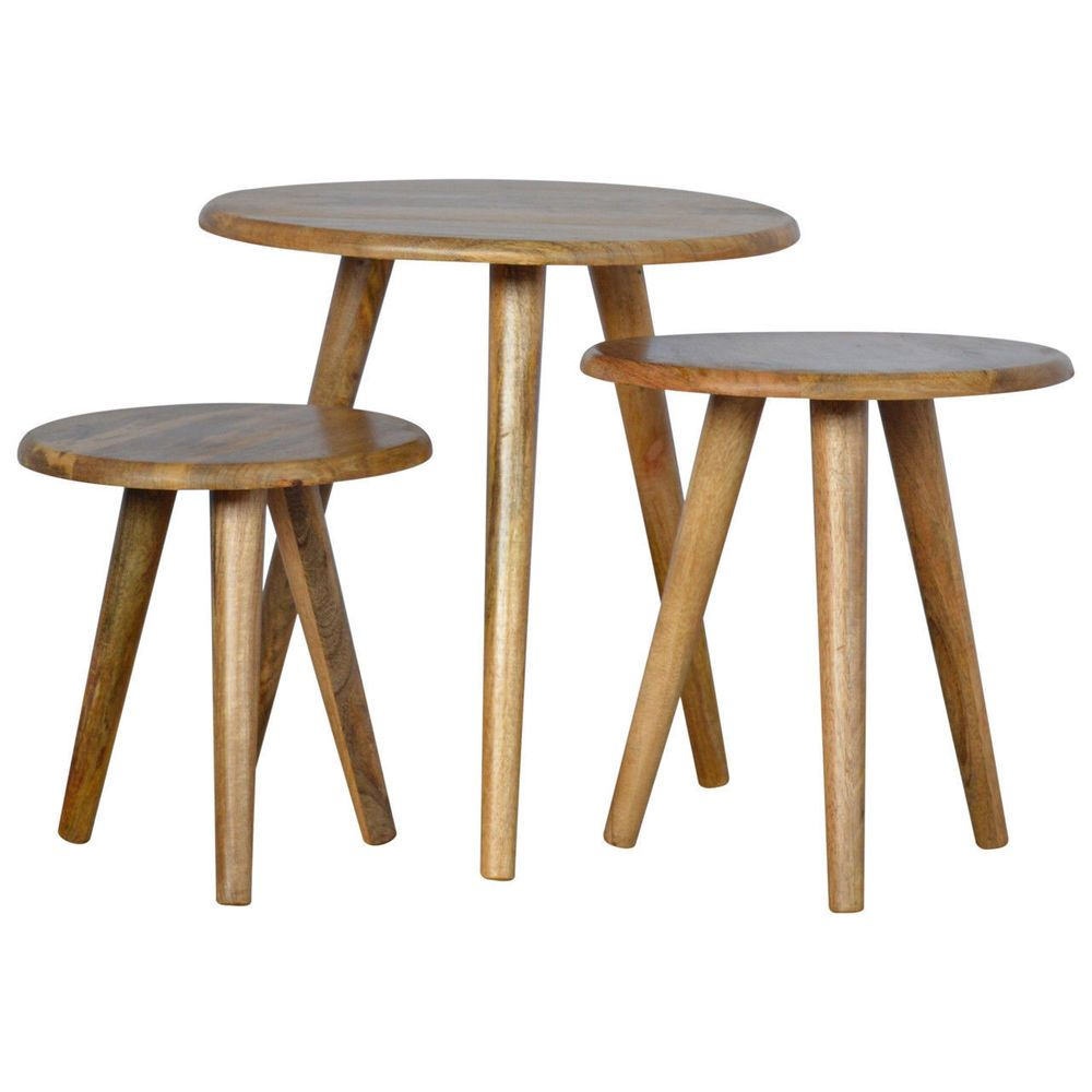 Brand New Handmade Nordic Style Set Of 3 Nesting Tables For Coffee Artisan Furniture Nesting Tables Table