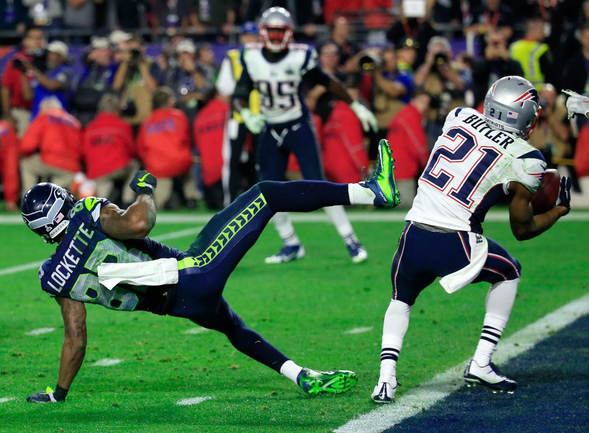 Interception Ends Seahawks Repeat Super Bowl Dream As Patriots Win 28 24 New England Patriots Players Seahawks Fans Nfl History