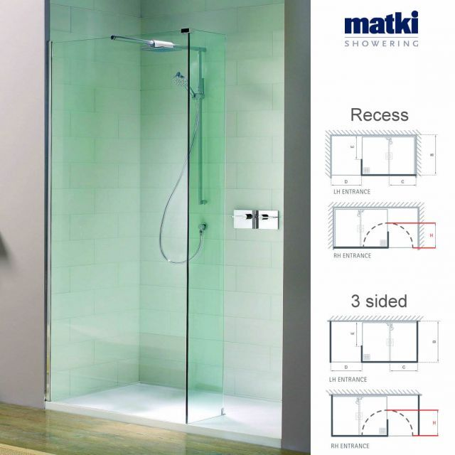 Matki Boutique Recess And 3 Sided Shower Suite Walk In Shower Enclosures Shower Enclosure Doors