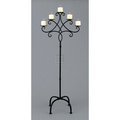 Floor Standing Wrought Iron Candle Holder Set Of 3