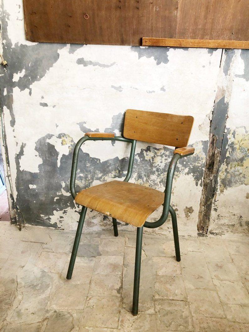 Sedia Da Ufficio Vintage.Vintage French School Chair Vintage Office Chair Vintage Study
