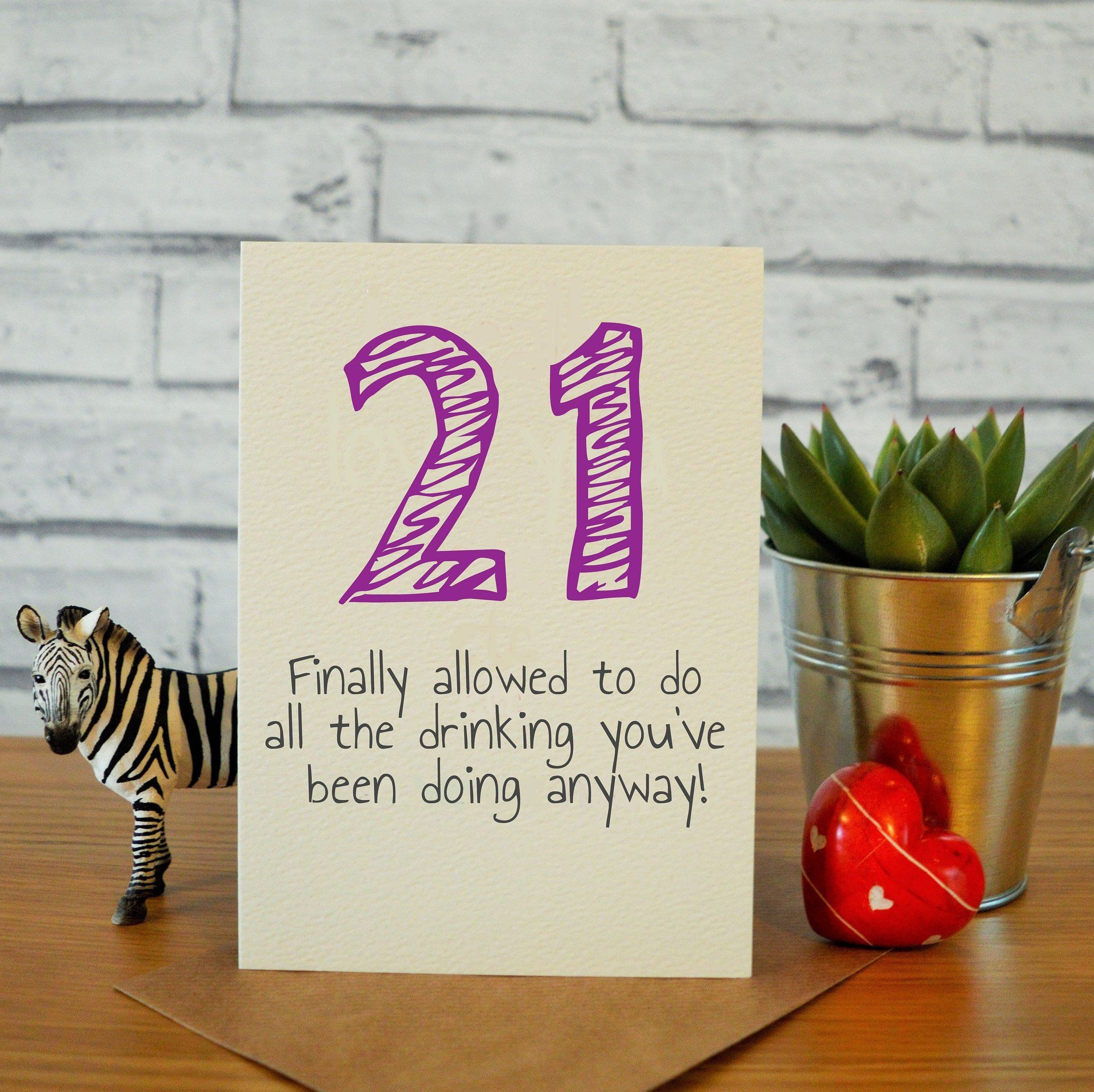 Funny 21st Birthday Cards For Her 21st Birthday Card Sister Etsy 21st Birthday Cards Birthday Cards For Him Birthday Cards For Her