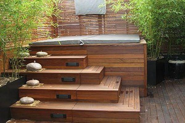 Wood Cabinet And Steps Plans For Spa Shell Hot Tub Outdoor Hot