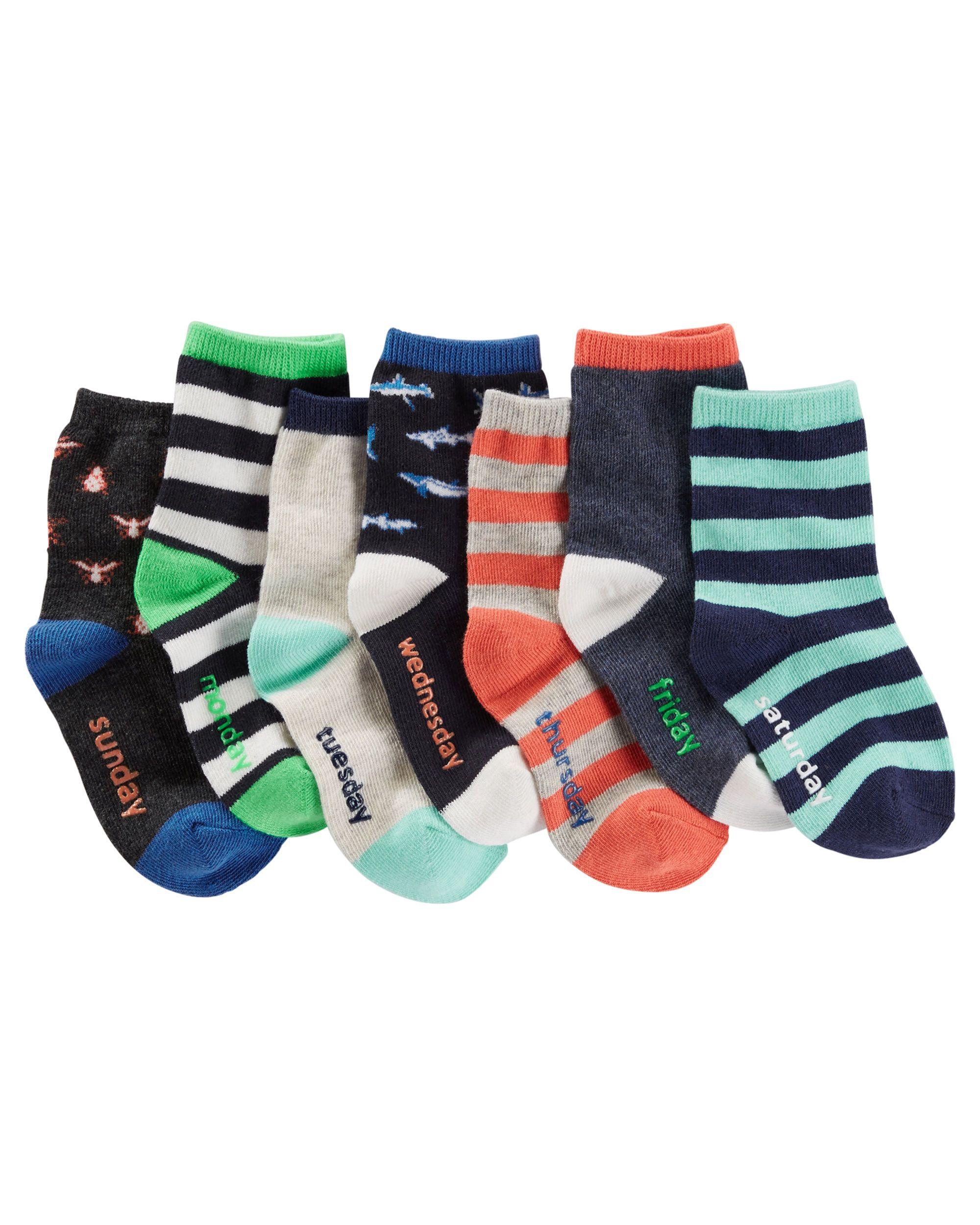 Days Of The Week Socks 7 Pack Glowing Days Of The Week Socks Baby Boy Accessories Boys