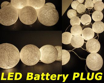 Battery Ed Led Bulbs 20 White Color Handmade Cotton Fairy String Lights Party Patio