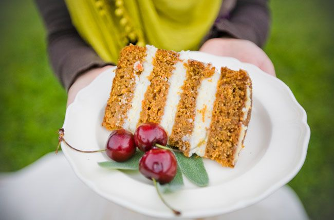 See this? The layers of moist carrot cake and pounds of cream cheese frosting layered in between? That my friends, is a wedding cake. Please take note so I can eat cake at all of your weddings. (For the 1.7 of you who are not yet married and are still open to that possibility). I would really like to eat this cake.