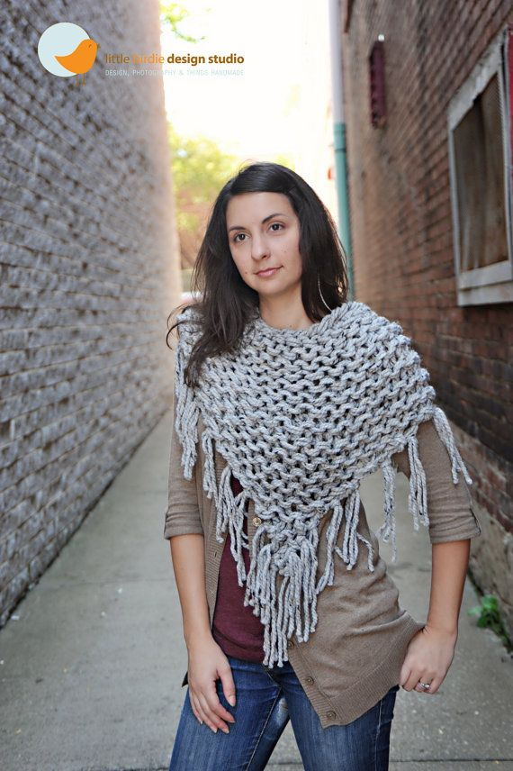 chunky knit, fringe shawl. | Yarn Inspirations | Pinterest ...