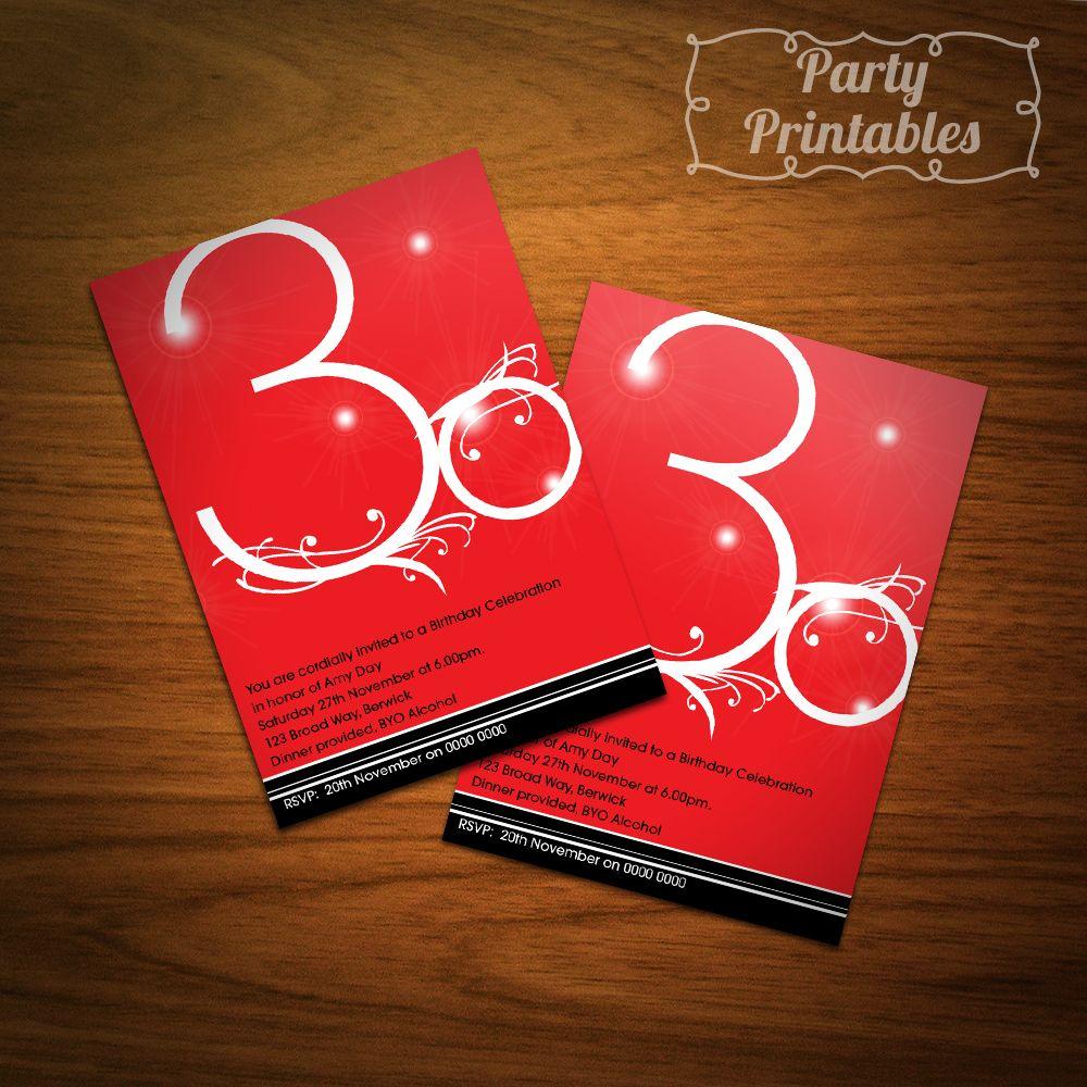 Modern Red 30th Birthday Party Invitation | Ed\'s Birthday Party ...