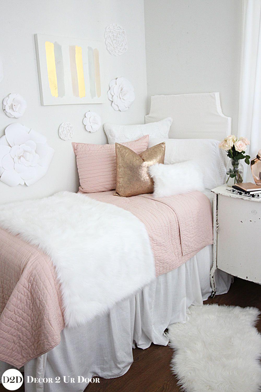 Blush Rose Gold & Fur Dorm Bedding Set in 2020 Dorm room