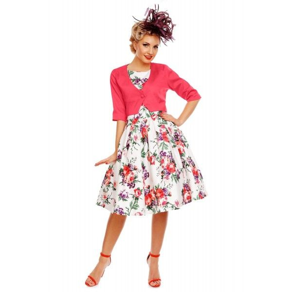 beaa246b9e Annie Retro Roses Floral Swing Dress in White