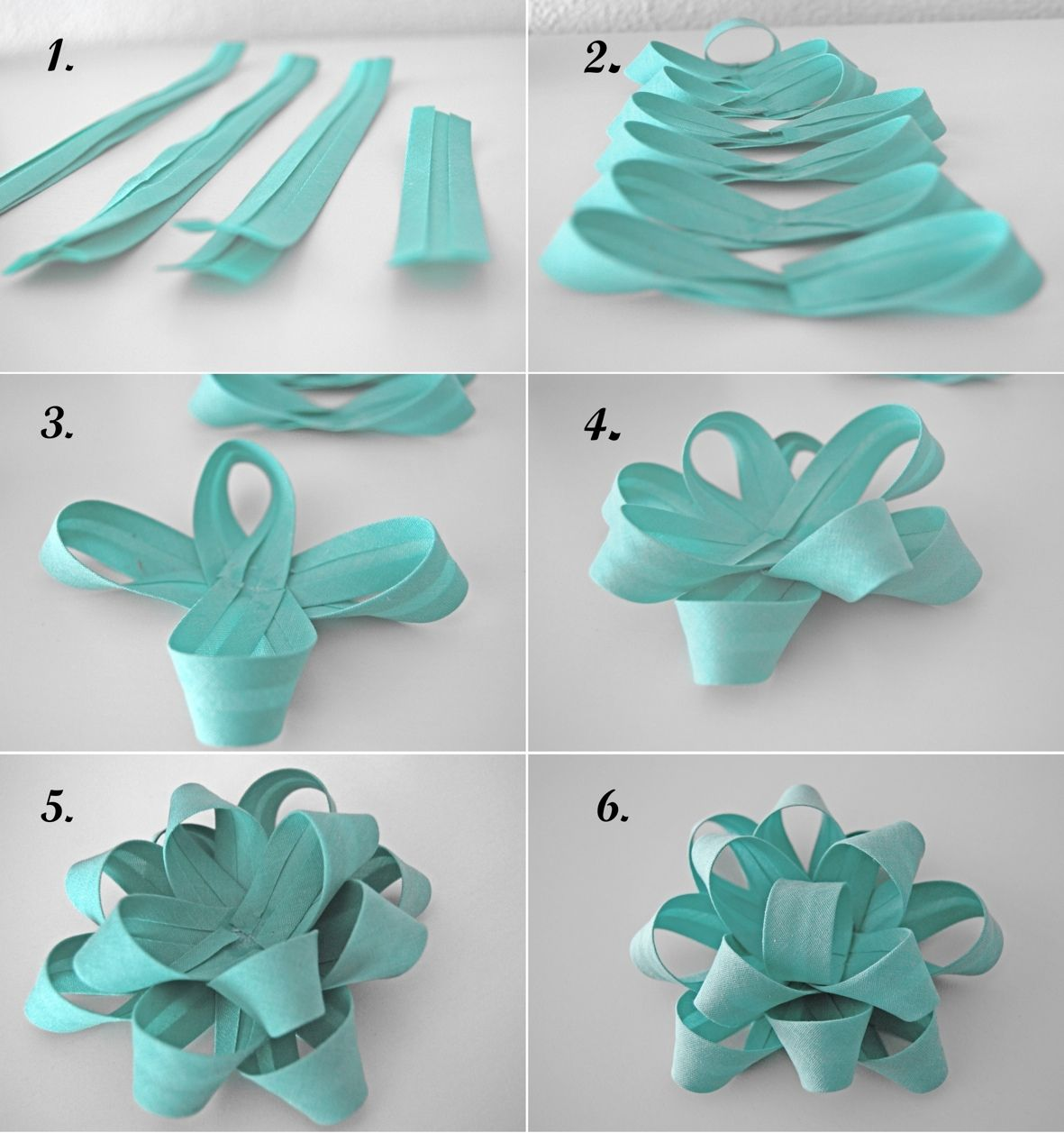 DIY Bows- I used my leftover wrapping paper this way. Clever way ...
