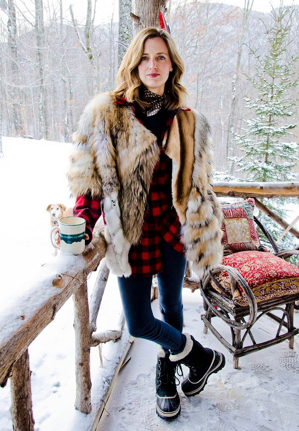 Ski Style-love the mix of plaid and fur w/ a silk scarf