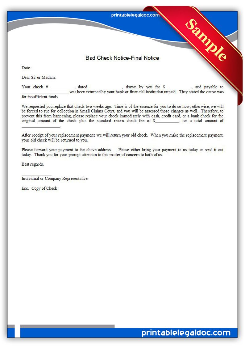 Free Printable Bad Check NoticeFinal Notice  Sample Printable