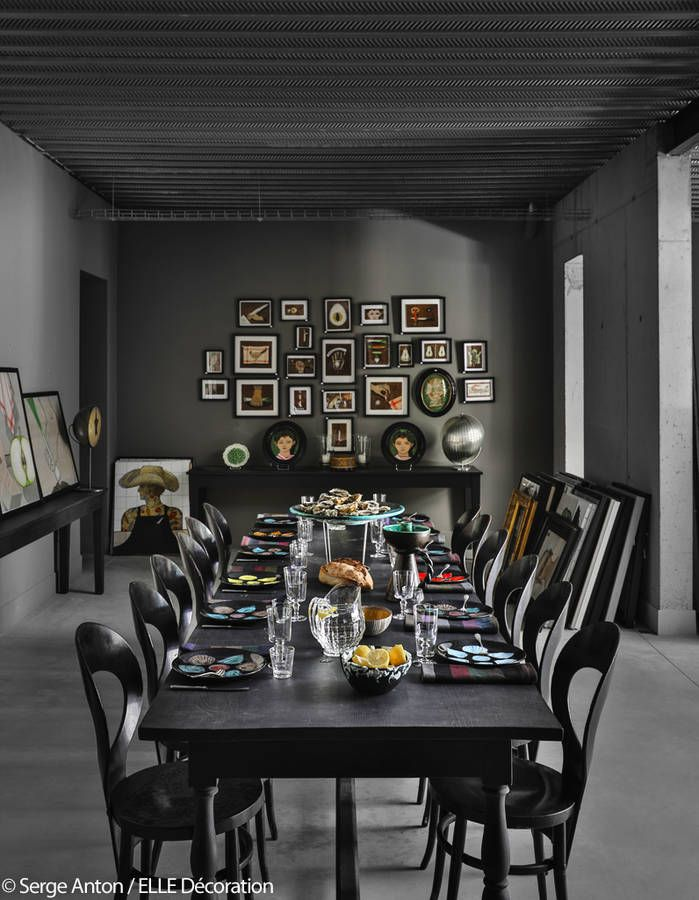 Salle à manger grise Décor NOIR / DARK ROOMS Pinterest Room
