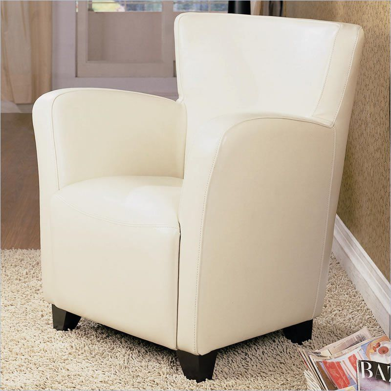 Coaster Accent Seating Chair in White Vinyl