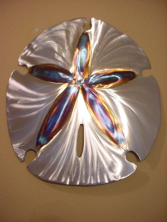 Sand Dollar Tropical Metal Wall Art Accents Polished Steel