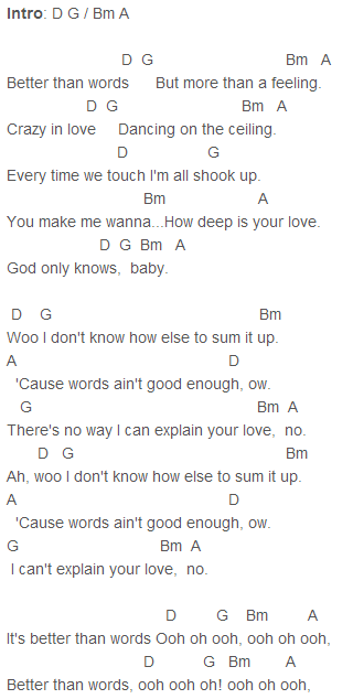 One Direction Better Than Words Chords
