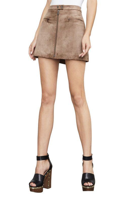b274921e5f BCBGMAXAZRIA's Fall Faux-Suede Is Animal Friendly - Kahli A-Line Mini Skirt