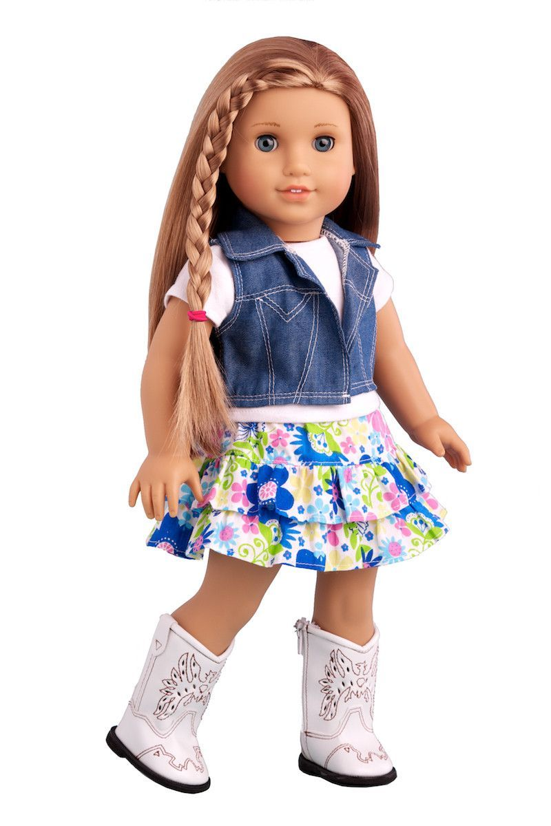 """Doll Clothes 18/"""" Western Skirt Jean Top Vest Boots Fit American Girl Dolls"""