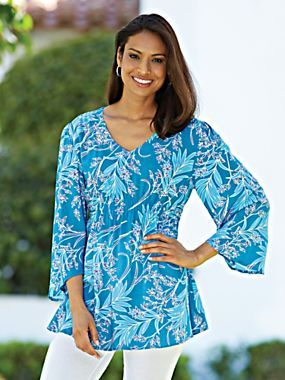 Vivid color and flattering style. Augusta Challs Tunic | Blair