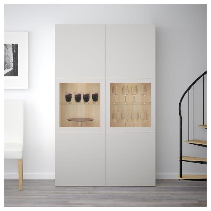 Photo of BESTÅ Vitrine – Eicheneff wlas, Lappviken Klarglas h'grau – IKEA Deutschland