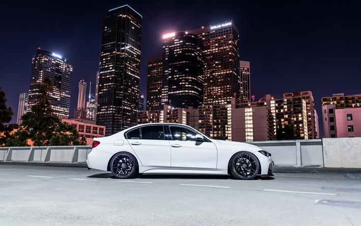 Hämta bilder BMW M3, 4k, 2017 bilar, tuning, 328i, M-Paket, vit M3, tyska bilar, BMW