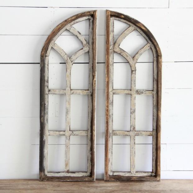 Arched Wooden Window Frame Set Of 2 Frames Walldecor Wooden Window Frames Wooden Windows Wood Doors Interior