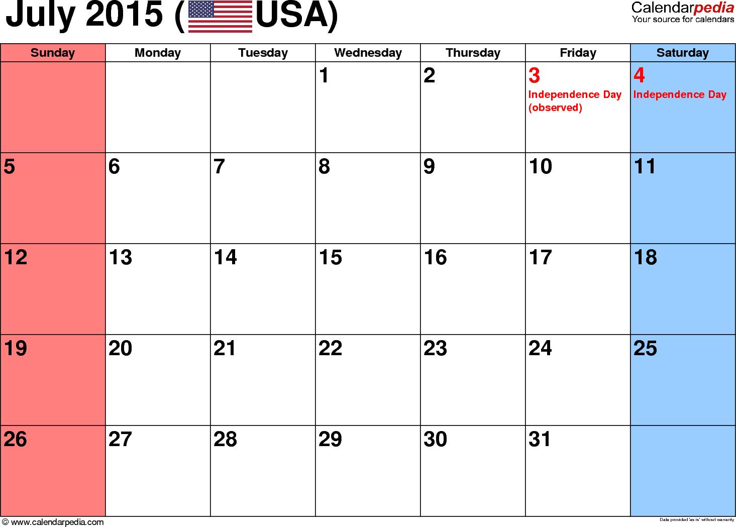 blank july 2015 calendar