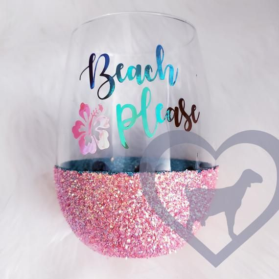Items similar to Beach Please! Peek-a-boo wine glass, Wine glass, Glitter dipped wine glass, Summer Vibes, Beach life, Beach please, flip flops, hibiscus on Etsy