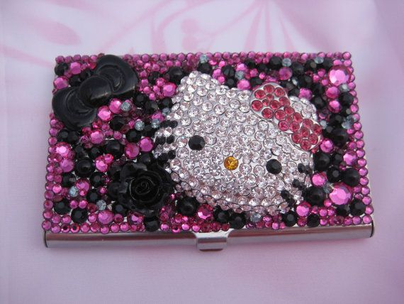 Hello kitty business card holder case or credit card case fuschia hello kitty business card holder case or by pinksugarcrystals 4500 reheart Choice Image