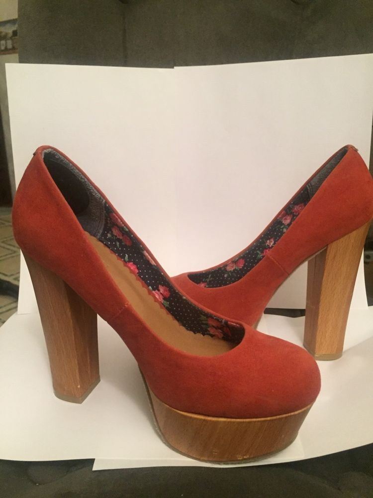 50154c1eeaf womans forever 21 shoes size 8 orange suede platform gently used 5 1 2 in  height  fashion  clothing  shoes  accessories  womensshoes  heels (ebay  link)